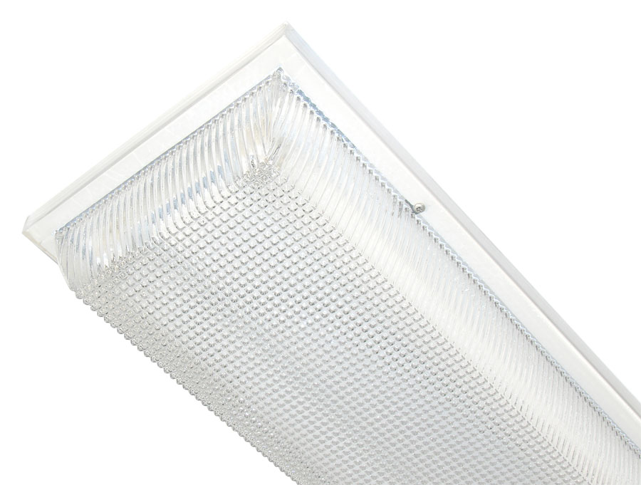 Ceiling lightingoutdoorledhidflwfharris lighting model 240 linear series white fluorescent strip luminaires with clear prismatic or opal white polycarbonate lens fluorescent light source aloadofball Gallery